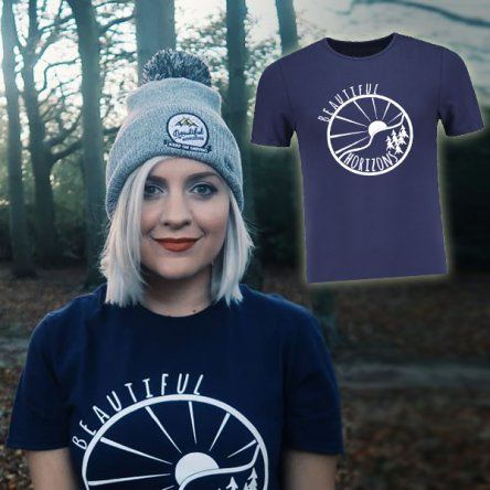 Small 'Beautiful Horizons' Blue T Shirt